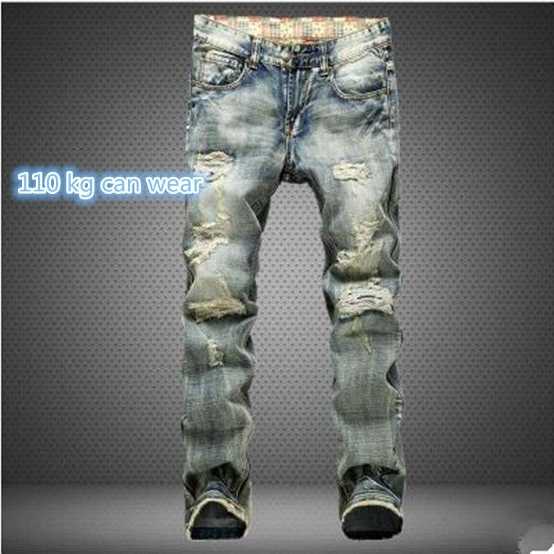 Men Hole Denim Jeans Straight Slim Male Cowboy Hip Hop Jeans Pants Fashion Classical Casual Style Men Blue Jeans plus size