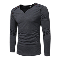 T Shirt Men 2017 Spring Autumn New Long Sleeve V Neck T Shirt Men Brand Clothing