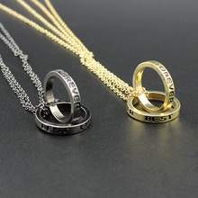 Couples Fashion Jewelry Gold Black Tone 1set Best Friend Forever Round Pendant 16″ Short Necklace