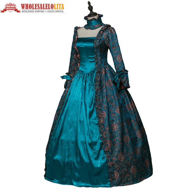 Royal Blue Gothic Period Brocade Dress Gown Steampunk Reenactment Women Clothing