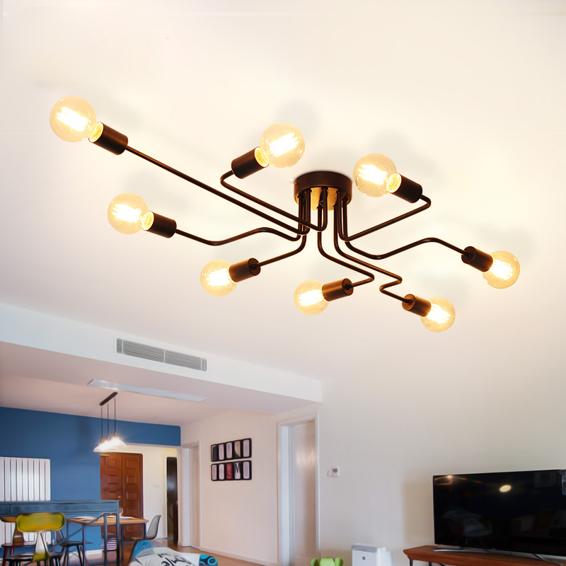 ФОТО LED Nordic Ceiling Lighting Fixture American Industrial Metal Ceiling Lamps Living Room Dining Room Lustres Home Indoor Lighting