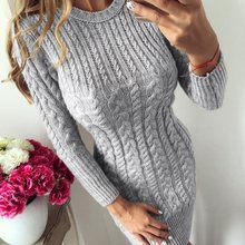 цена на Women Fashion Knit Sweater Round Neck Long Sleeves Dress Lady Plain Patchwork Bodycon  Above Knee Dresses
