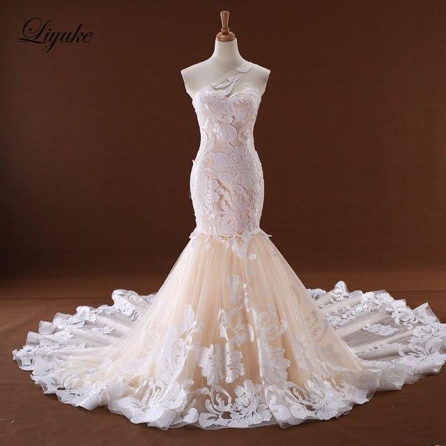 6e785a7ca3afd1 Merveilleuse Tulle décolleté chérie robe de mariée sirène à lacets chapelle  Train élégant Appliques dentelle robes de mariée