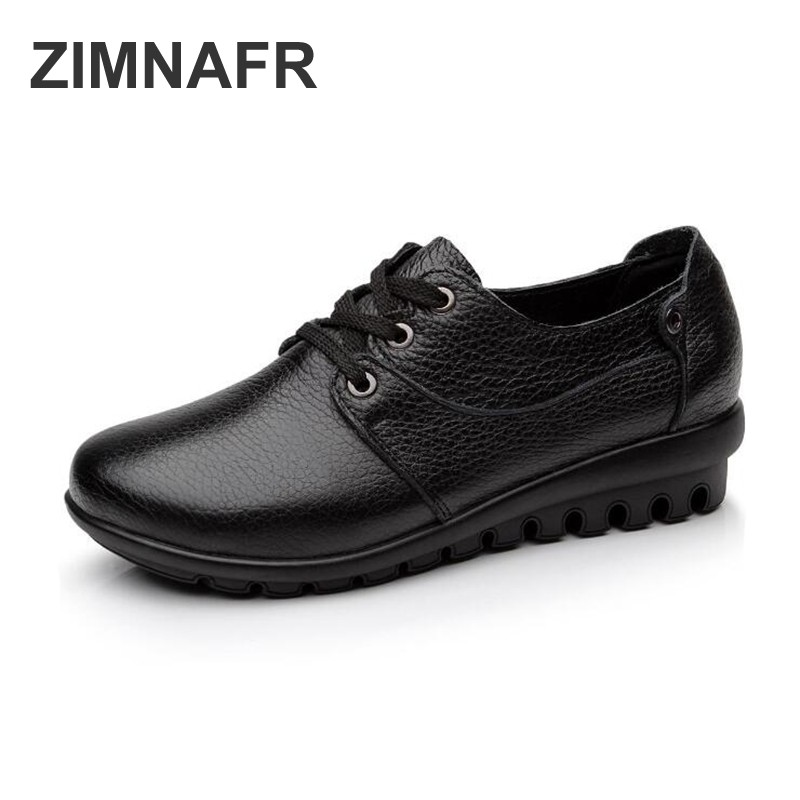 ZIMNAFR BRAND WOMEN FLATS 2018 NEW SPRING CASUAL SHOES WOMEN GENUINE LEATHER FLATS LACE-UP COMFORTABLE MOTHER SHOES PLUS SIZE new 2018 spring summer shoes women flats soft leather fashion women s casual brand shoes breathable comfortable