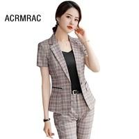 Women suits Slim summer Plaid Blazers Ankle Length Pants OL Formal Business Women pants suits Women set suits 9833