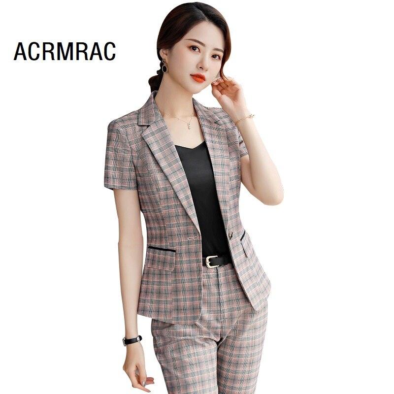 Women Suits Slim Summer Plaid Blazers Ankle-Length Pants  OL Formal Business Women Pants Suits Women Set Suits 9833