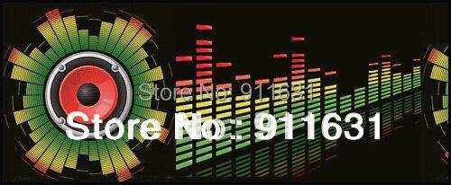 Car Styling 90 cm *25 cm 12V Car Sound Lights Led Sticker EL Sheet Interior Lamp Music activated Equalizer Packing Lights