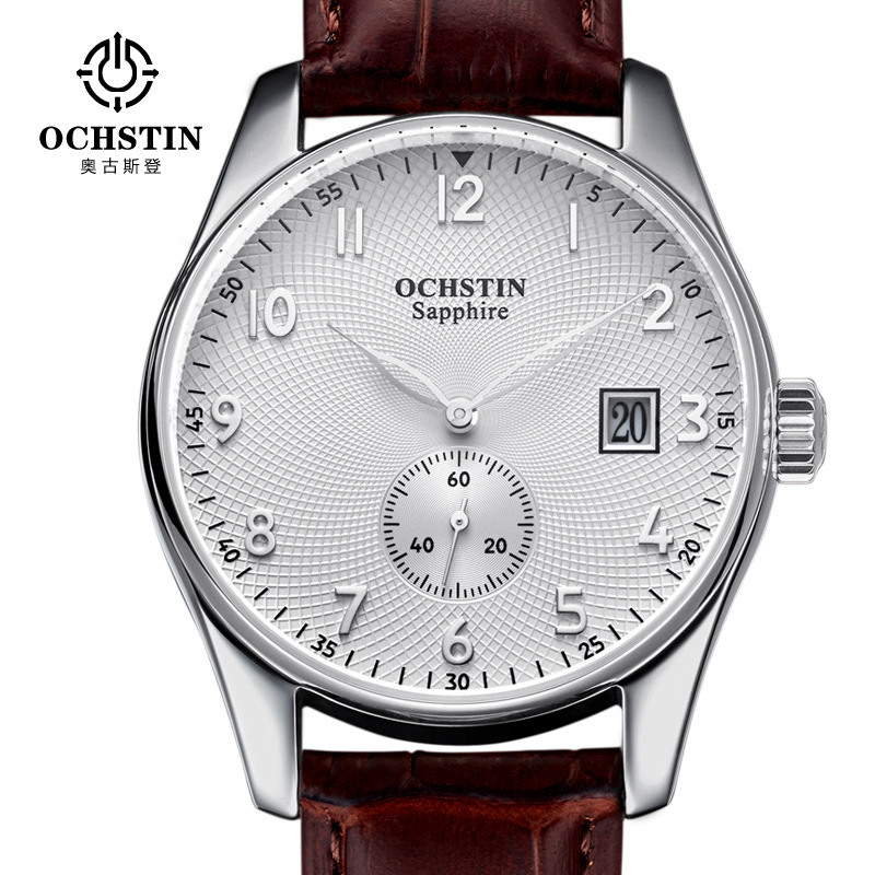 Ochstin Fashion Casual Male Clock Men Grid Pattern Dial Mens Watches Leather Luxury Watch Men Montre Homme Waterproof Clock Men