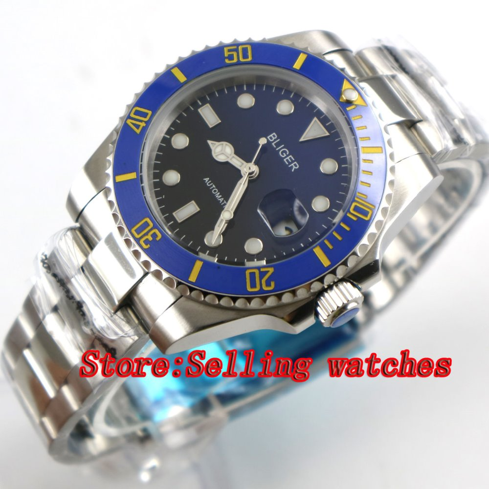 40mm Bliger black & blue Dial Sapphire Glass Stainless Steel blue ceramic bezel Luminous Men's Automatic Mechanical Watch  p019 red fox термобелье рубашка 1 2 element merino женская серый