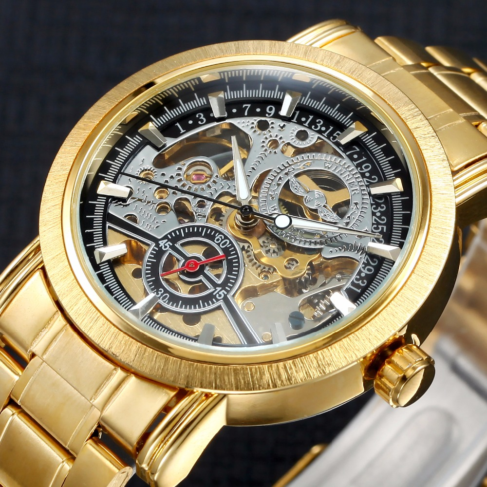 2017 Gold Watches Automatic Mechanical Watch Top Luxury Brand Men Skeleton Self-Wind Wristwatches Full Steel Relogio Masculino top brand luxury men skeleton mechanical watch gold skeleton vintage watches hollow automatic self wind wrist watch man clock