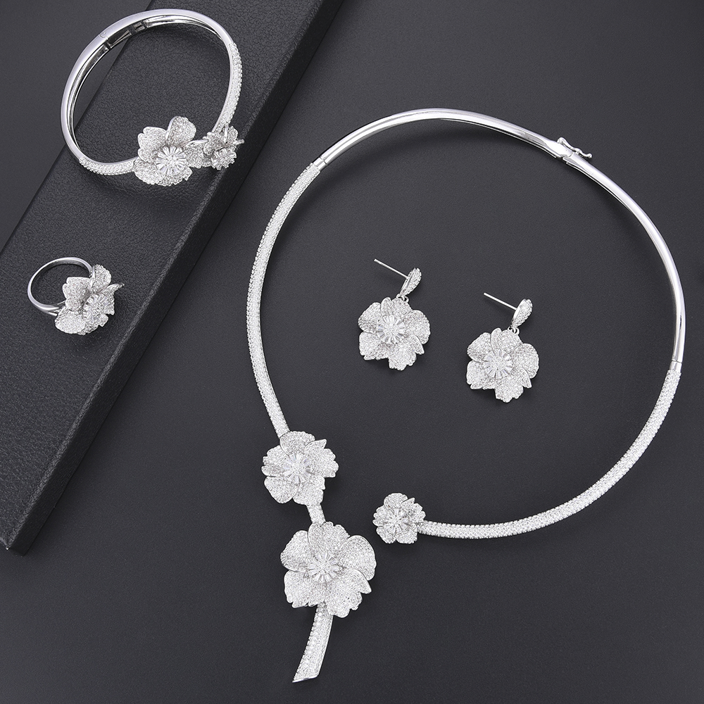 Delicate Blossom dubai jewelry sets Bridal jewelry set Cubic Zirconia Collar Necklace Earrings Bracelet Ring wedding jewelry