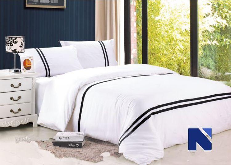 4pc bedding set king size black white red stripes bedclothes 100 cotton comforter bedding sets. Black Bedroom Furniture Sets. Home Design Ideas