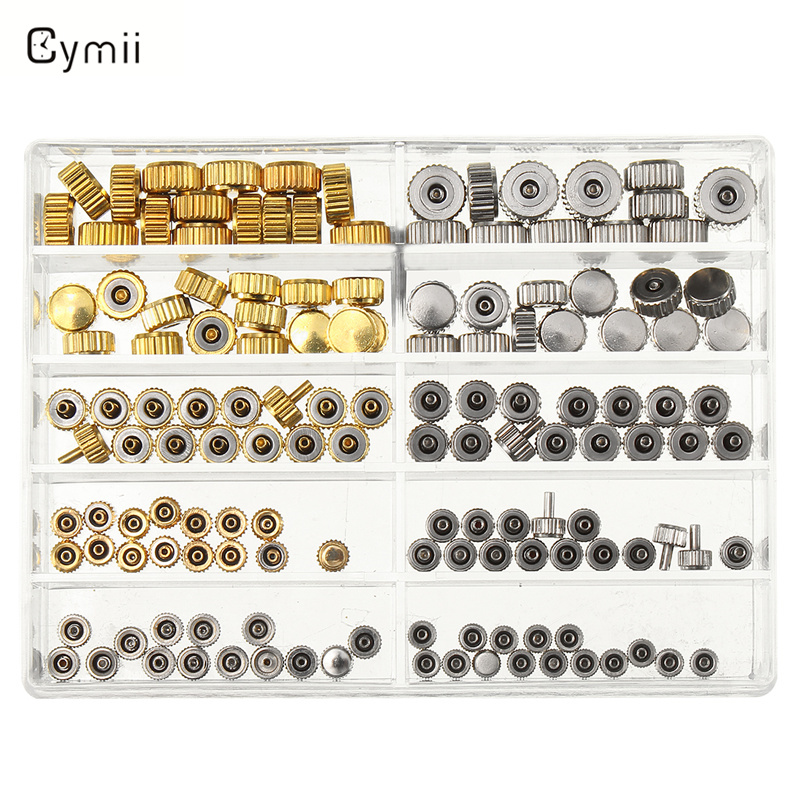 Cymii Watch Crown Parts Replacement Assorted Gold & Silver Dome Flat Head Watch Accessories Repair Tool Kit For Watchmaker 16pcs professional watch repair kit for watchmaker