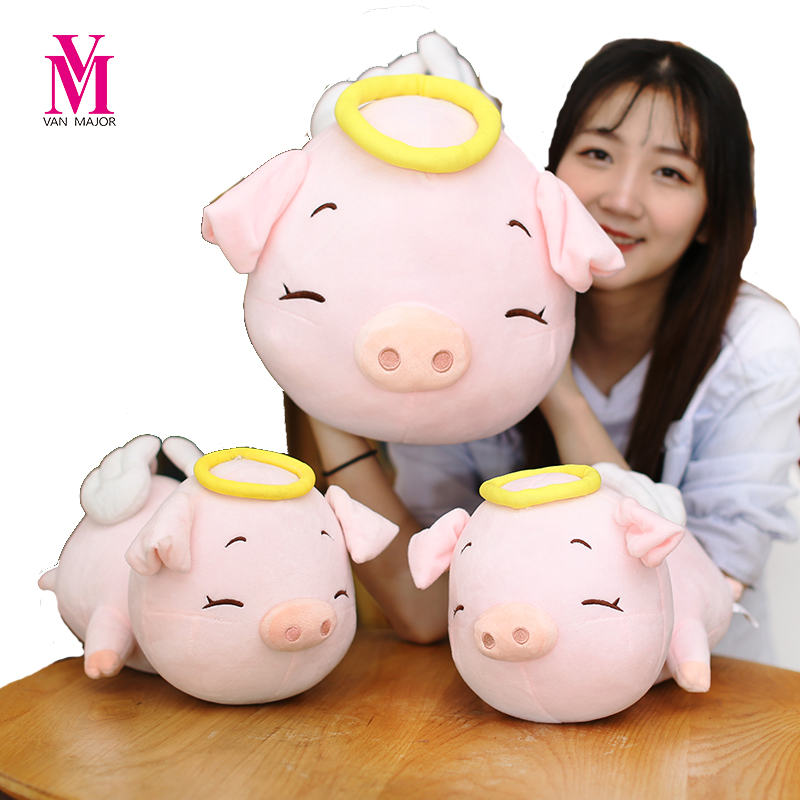 40-80cm Drop Shipping On Sale Lovely Angel Pig Doll Plush Toy Cloth Doll Pig Pillow DollsLovers Christmas Gift