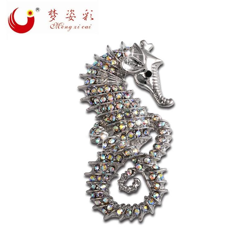 بروچس حیوانات جدید بروچس Rhinestone Seahorse - جواهرات مد