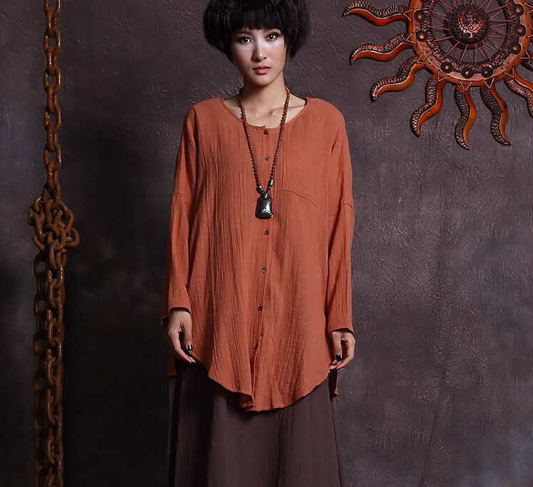 Large size cotton shirt women 39 s autumn solid colors loose for Large shirt neck size
