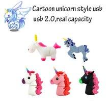 Hot Sale Cartoon Cute Unicorn USB Flash Drive Pen Drive 8GB 16GB 32GB Black Horse USB Stick External Memory Storage Pen Drive