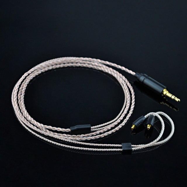 Wooeasy 4コアピンクアップグレード音シルバーメッキケーブル3.5ミリメートルゴールドケーブルmmcxコネクタ用lz a3 a4 dqsm vt