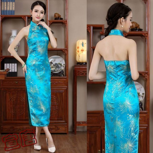 ea5be0bebd4d 2017 Sky Blue Qipao Long Cheongsam Backless Evening Dress Party womens  chinese modern oriental Dresses Summer Women Sexy Flowers