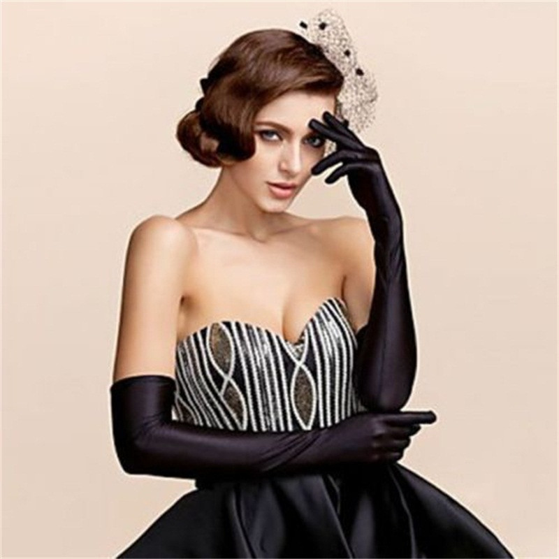 Female Gloves 2017 Sexy Fashion Lady Soft Stretchy Long Sleeve Finger Gloves Burlesque Party Opera Gloves Sun Protection Gloves ...