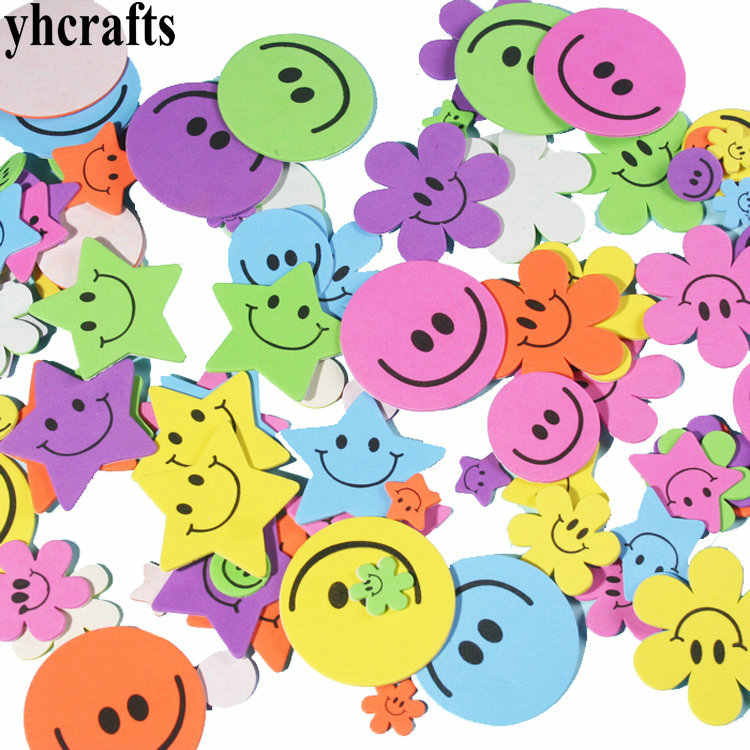 1bag/LOT.Smile flower foam stickers 15 design choose Early educational toys Kindergarten craft diy toy Color learning Creative