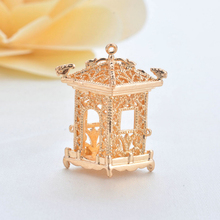 (34052)2PCS 26*21*17MM 24K Gold Color Plated Brass 3D Pavilion Charms Pendants High Quality Diy Jewelry Findings Accessories