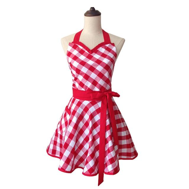 US $11.99 40% OFF|Bodecin Sweetheart Polka Dot Retro Kitchen Apron Woman  Cotton Cooking Salon Avental de Cozinha Divertido Pinafore Apron Dress -in  ...