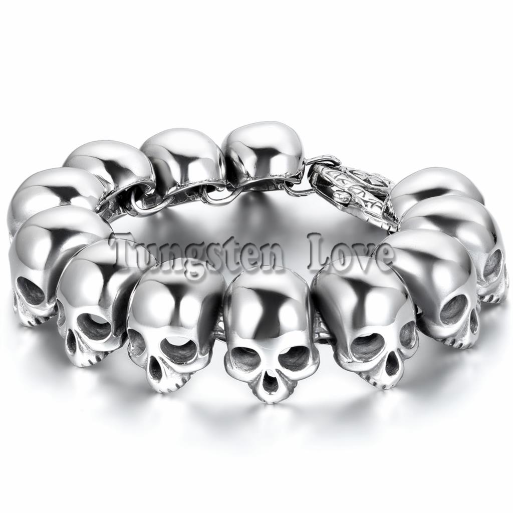 25cm Punk Large Gothic Skull Bracelet Biker Men Stainless Steel Bracelet 2018 New arrived pulseiras masculina Silver Color цена 2017