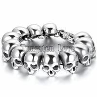 25cm Punk Large Gothic Skull Bracelet Biker Men Stainless Steel Bracelet 2018 New arrived pulseiras masculina Silver Color