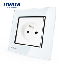 Free Shipping,Livolo New Outlet,French Standard Wall Power Socket, VL-C7C1FR-11,White Crystal Glass Panel, AC 110~250V 16A