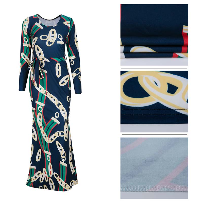 Africa Clothing Trendy Gold Chain Printed Long Sleeve Belted Maxi Dress  Women Autumn Bodycon Robe Long Party Plus Size S XXXL -in Africa Clothing  from ... 2097083c8
