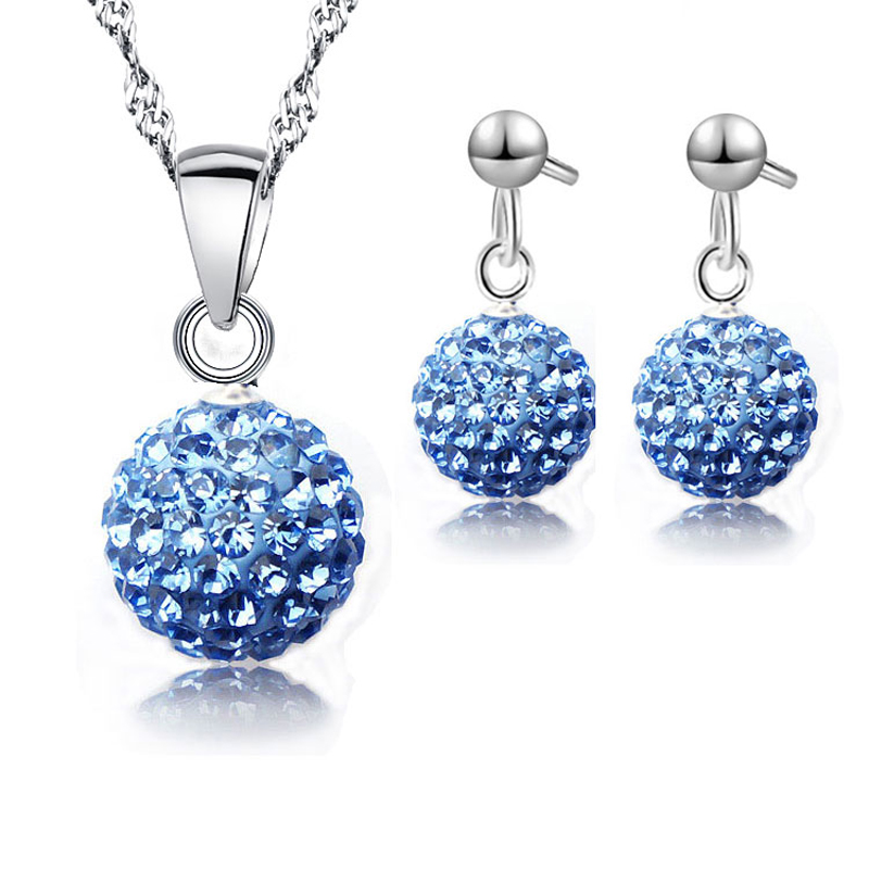 JEXXI 10 Cores Promoção 925 Sterling Silver Cristal Nupcial Conjuntos de Jóias de Casamento Para A Mulher de Cristal Pingente de Colar Conjunto