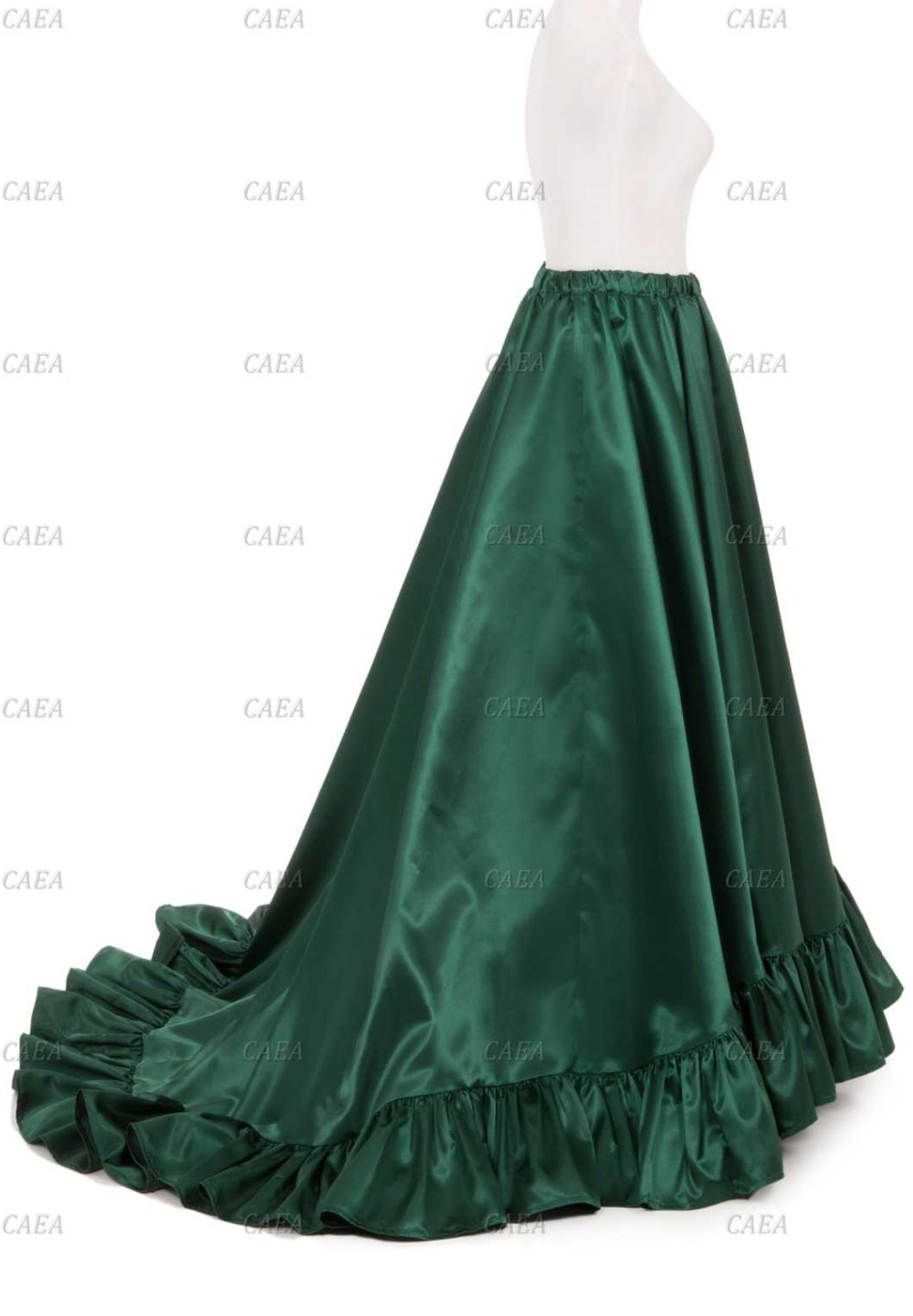 Victorian Satin Ruffled Skirt Satin Skirt Stage Costume Green Skirt Custom Make Plus Size