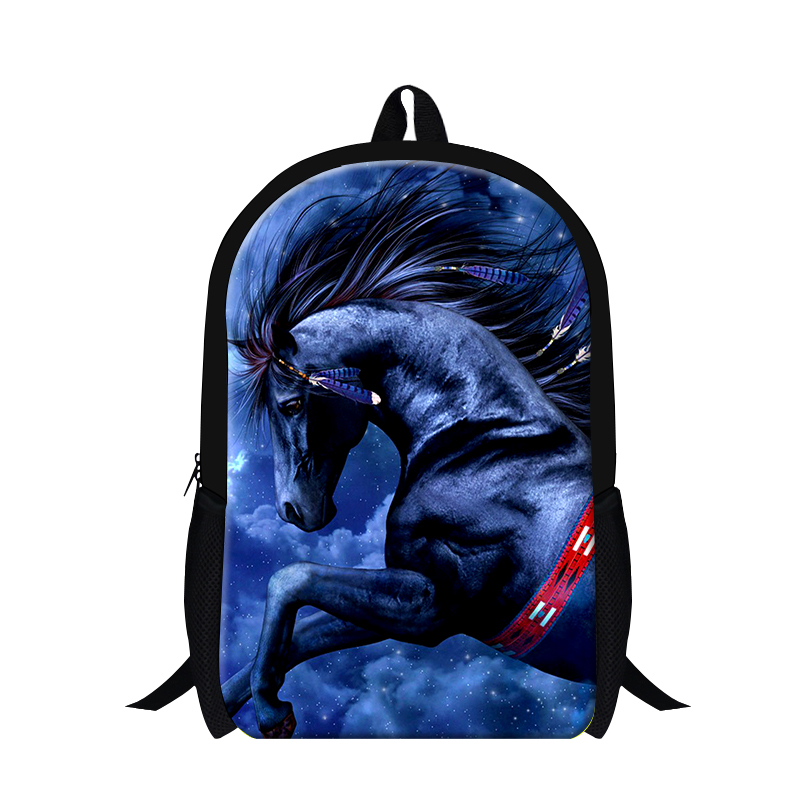 Cool Blue Horse 3D printing School Backpack for boys animal bookbags for teenagers,childrens back pack lightweight mochilas