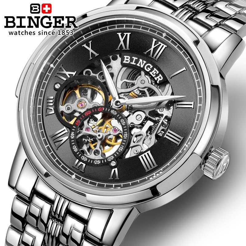 Switzerland men's watch luxury brand men watches BINGER luminous Mechanical Wristwatches full stainless steel Waterproof B5036|steel stainless|steel man|steel wristwatch - title=