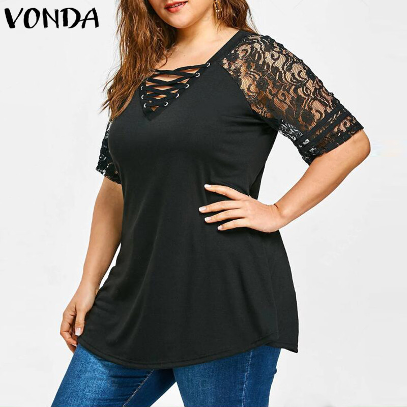 Women Lace Shirt 2018 Summer Sexy V Neck Short Sleeve Casual Loose Blouses Patchwork Bandage Black Tee Tops Plus Size Hollow Out 2
