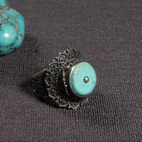 Ручной работы непальский 925 Серебряное кольцо Тибетский кольцо из стерлингового серебра 925 Серебряный зеленый Богемия кольцо с регулируемы