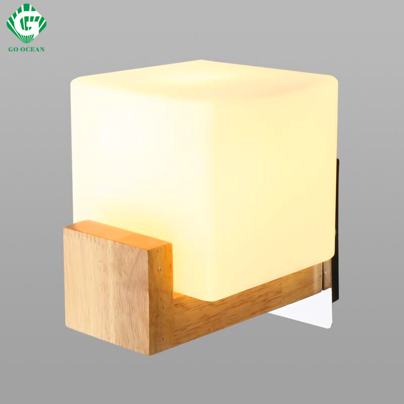 Go Ocean Cube Transpa Gl Led Wall Lamp 3w Modern Home Decoration Sconce Light For
