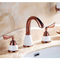Rose Gold Deck Mounted 3 Holes Bathroom Sink Faucet Widespread Basin Mixer Tap