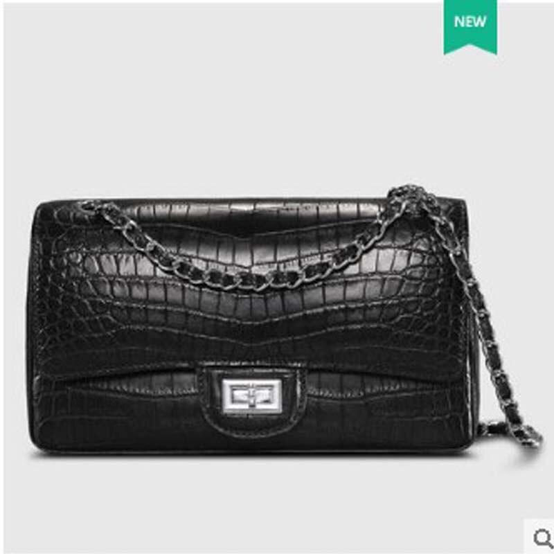 Cestbeau Nile crocodile  Crocodile belly small square bag slant shoulder bag leather lady chain small square bag classic