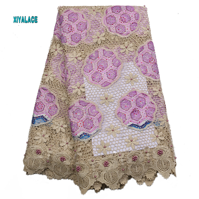 African Lace Fabric 2019 High Quality Nigerian Lace Fabrics Embroidery French Tulle Lace With Stones Fabric YA2253B-1