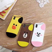 Cony, Sally and Bear Socks Phone Cover For iPhone X XR XS Max 6 6S 7 8 Plus