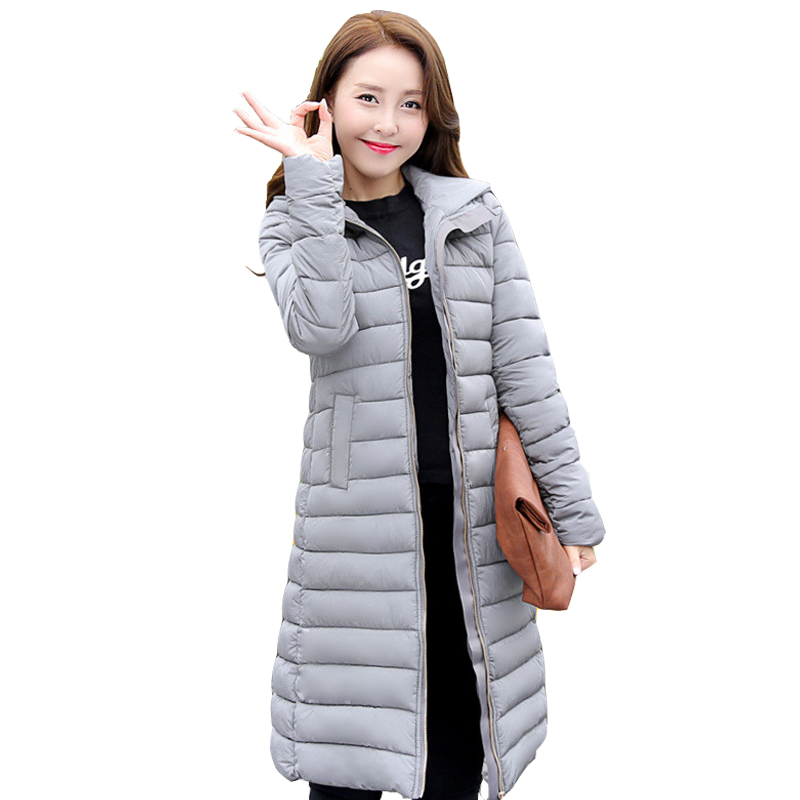 2016 New winter feather padded Girls long section of Korean version of Slim Hooded jackets coat