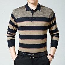 Осенний мужской свитер с отворотами Мужской Свободный Мужской Повседневный свитер с длинными рукавами для отца среднего возраста мужской XXL