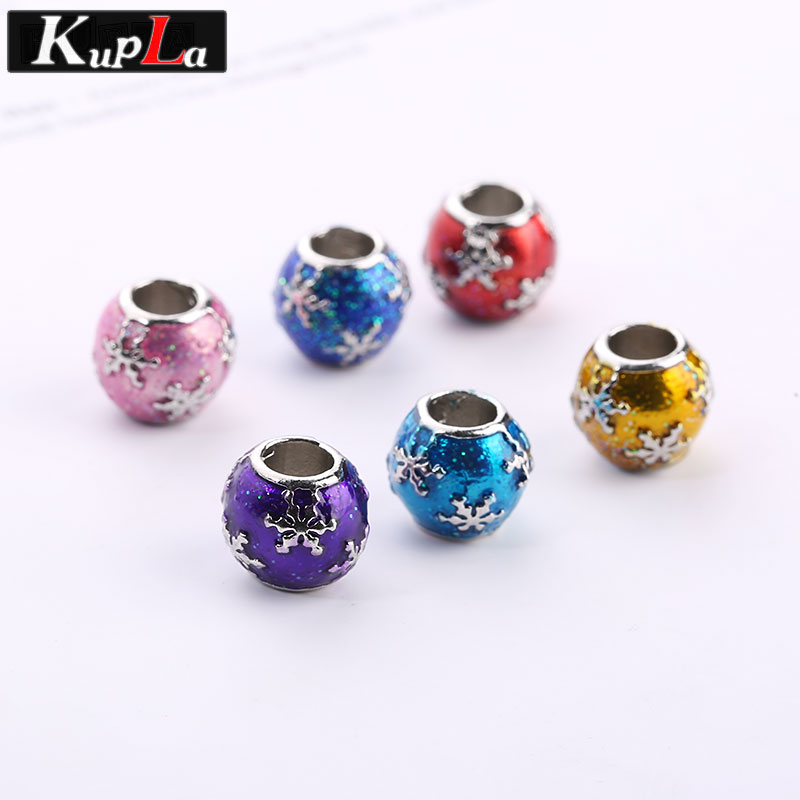 Kupla Metal Color Enamel Round Beads for Pandora Charms DIY Fashion Accessories European Big Hole Beads for Jewelry Making