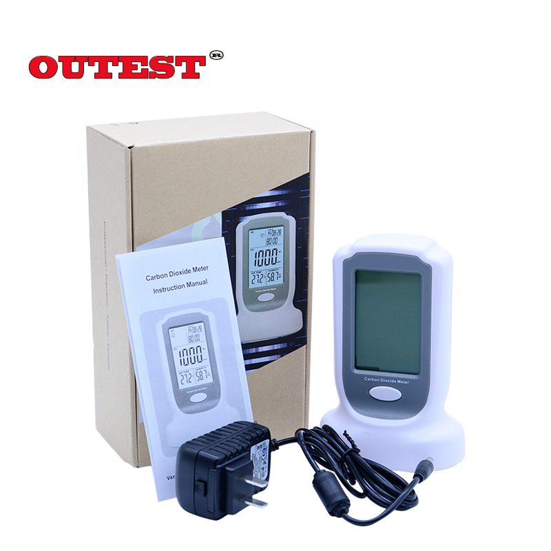 Digital CO2 monitor detector GM8802 Gas detector  3 in1  Carbon Dioxide Temperature Humidity Detector with LCD backlight display digital indoor air quality carbon dioxide meter temperature rh humidity twa stel display 99 points made in taiwan co2 monitor