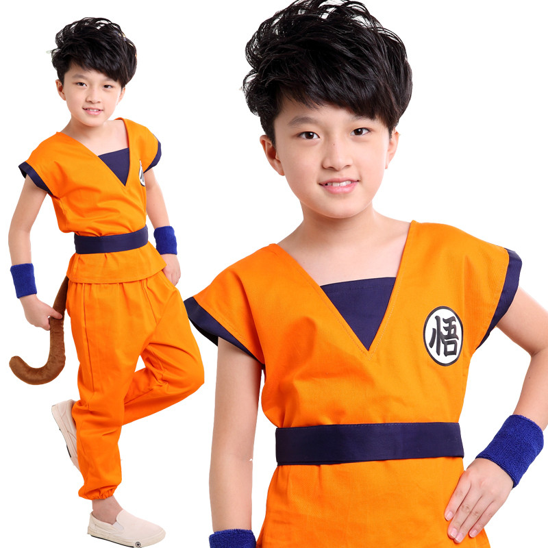 Hight Quality Cosplay Japanese Anime Dragon Ball Z Cosplay Costume For Kids Son Goku Monkey King Costume Halloween Party Wear