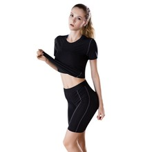 Women Wicking Breathable Short Sleeve Loose Yoga Running Workout Activewear Comfort T-shirt недорого