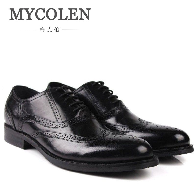 MYCOLEN Pointed Toe Brogue Mens Oxfords Shoes Genuine Leather Office Business Man Footwear Lace Up British Formal Shoes hot sale mens genuine leather cow lace up male formal shoes dress shoes pointed toe footwear multi color plus size 37 44 yellow