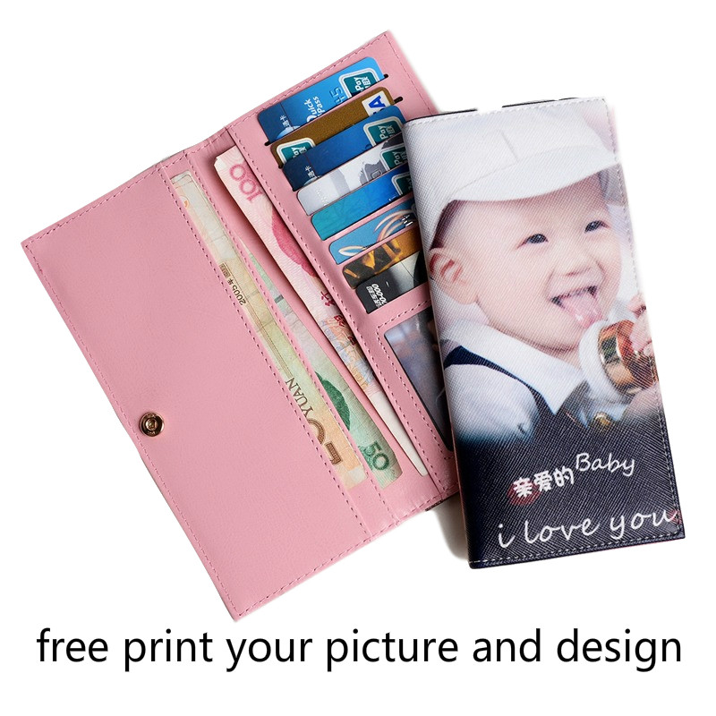 Female Handmade Diy Birthday Gifts Picture Design Printing Customized Photo Custom Clutch Bag Wallet Women Pink Long Wallet